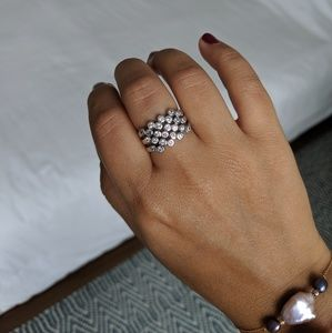 Stackable Sterling Silver Rings with crystals sz 7